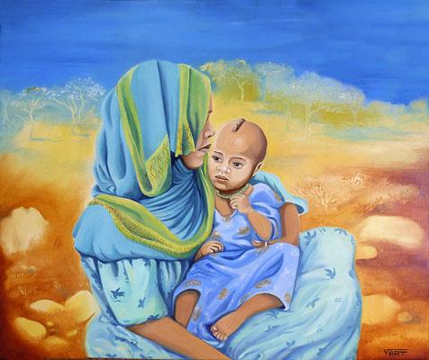 AMHARA -huile sur toile 55X46- femme des hauts plateaux - Ethiopie