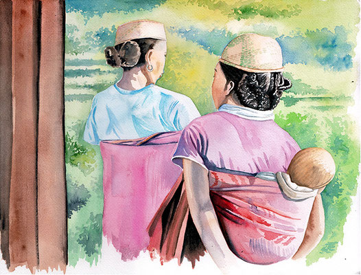 Sakaivo Madagascar - aquarelle 31x41- femmes de l'ethnique Zafimaniry