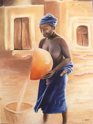 pastel Afrique femme dogon 65X50