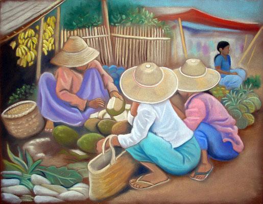 pastel Birmanie marché 65X50