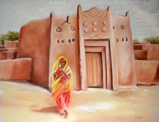 Mosquée de Tahoua - pastel 65x50- Sur la route entre Niamey et Agadez-Niger