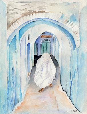 MEDINA BLEUE aquarelle 31x41
