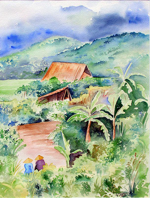 Mai Chau -Vietnam  -aquarelle 31x41-village du Nord