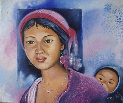 Femme akha de Sopikao - huile sur toile 55X46 - Laos