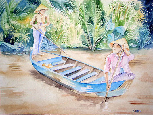 Barque bleue -Vietnam -Aquarelle 31x41-