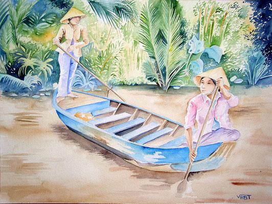 Barque bleue -Vietnam - aquarelle 31x41-