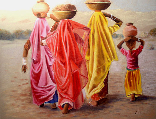 Saris -pastel 50x65- Inde (d'après une photo d'Hans Silvester)