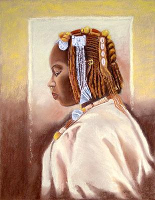 Africa -pastel 65x50-  portarait réalisé à partir d'une photo ancienne en noir et blanc
