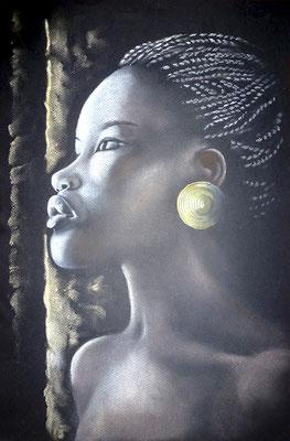 femme noire -pastel