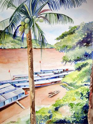 Bateau-bus sur le Mekong-aquarelle 31x41-Laos