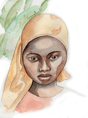 carnet de voyage Rwanda petite fille musulmane