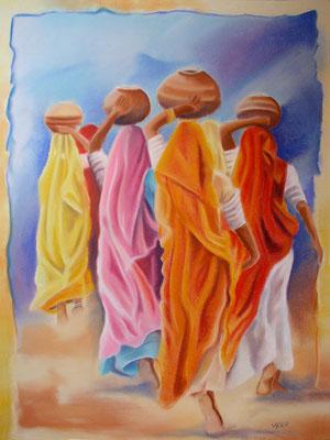 Saris2 -pastel 50x65- Inde