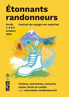 affiche Étonnants Randonneurs festival du voyage non motorisé 2016