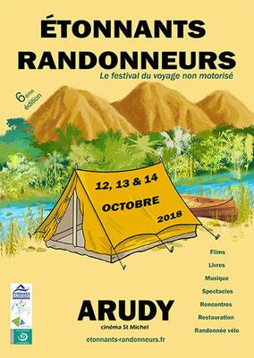 affiche Étonnants Randonneurs  festival du voyage non motorisé 2018
