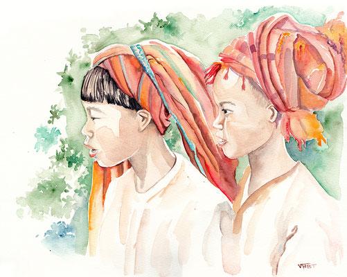 Shan Pao  aquarelle enfant de l'ethnie Pao en Birmanie   aquarelle 31X41 - Myanmar