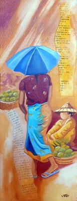 Carnet de voyage  à Mawlamine - huile 40x15 - Myanmar