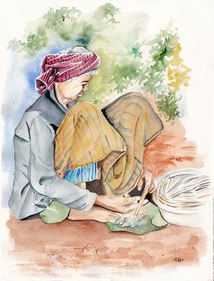 Bambous Cambodge - aquarelle 31X41