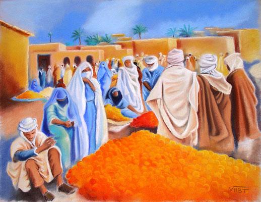 pastel Maroc souk  65X50