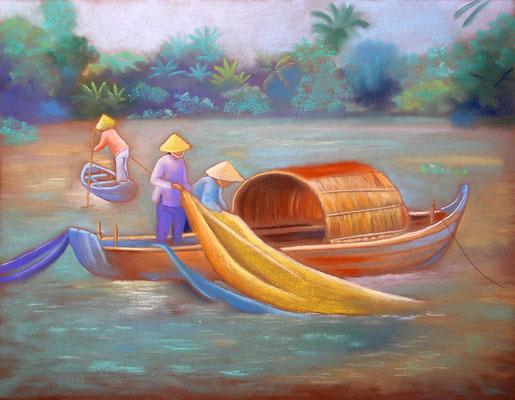 pastel Vietnam pêcheurs 65X50