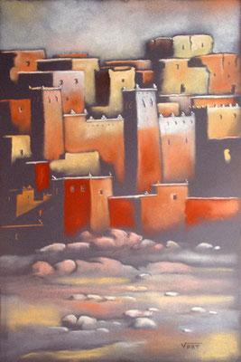KASBAH -55X37 cm- Au coucher du soleil les murs s'enflamment