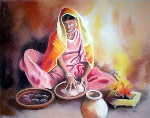 pastel Inde femme 65X50