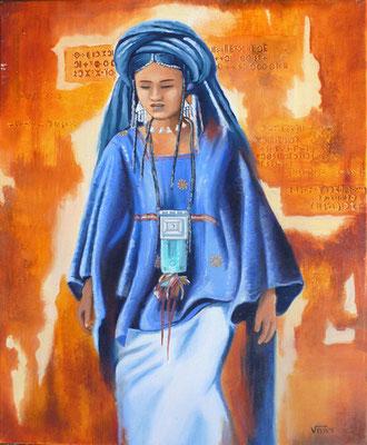 Aïr femme touareg  - huile 46X38-Niger