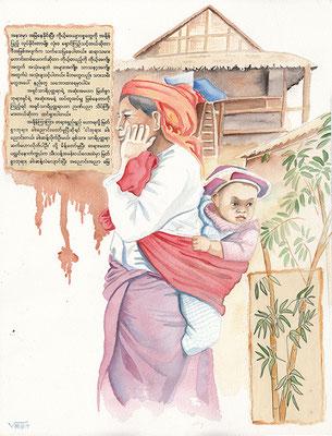 MYANMAR aquarelle 31x41 femme  d'une tribu montagnarde entre Kalaw et le lac Inle