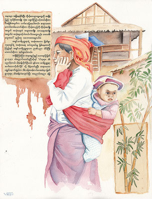 aquarelle Birmanie 31X41