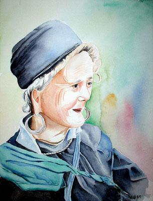Femme Hmong - Vietnam - aquarelle 31x41-