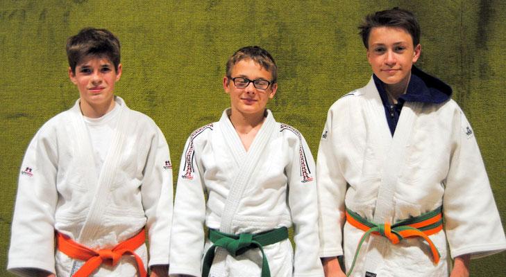 Die 3 erfolgreichen Judoka: Martin Koschel, Daniel Gardt und Kolja Pätzold vom SC Hemmoor.