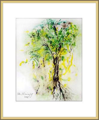 Titel: grüner Baum - Aquarell 40 x 48 cm