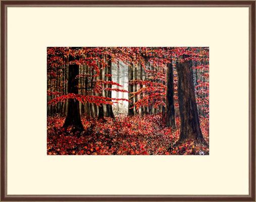 Tietel: roter Wald - Aquarell 30 x 20 cm