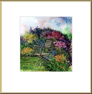 Titel: Ruhesitz - Aquarell 16 x 19 cm