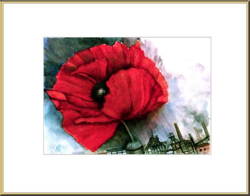 Titel: roter Mohn - Aquarell 47 x 35 cm