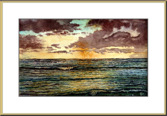 Titel: Atlantik - Aquarell  27 x 16 cm