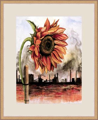 Titel: Sonnenblume am Stock - Aquarell 37 x 46 cm