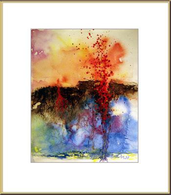 Titel: Vulkan 2 - Aquarell 30 x 39 cm