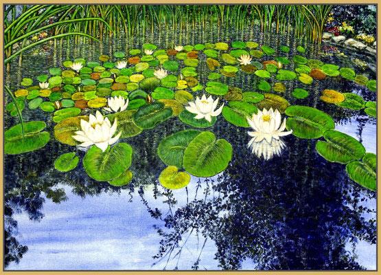 Titel: Mein Teich - Acryl - Leinwand 70 x 50 cm