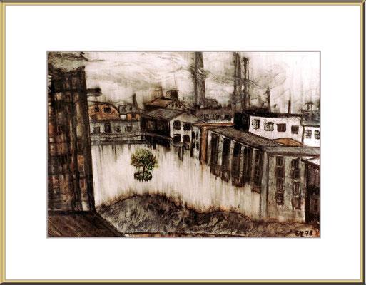 Titel: Der letzte Baum - Ölkreide 36 x 26 cm