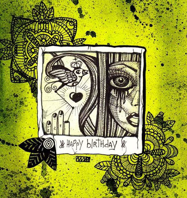 birthday 02   100x100   watercolor pigmentliner