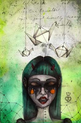 origami *01   210 x  297   watercolor pigmentliner   2012