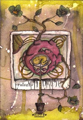 mama  105 x 148   watercolor pigmentliner   2011  SOLD
