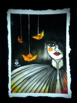 origami *02   210 x  297   watercolor pigmentliner   2012