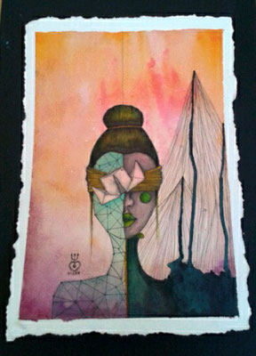 origami *03   210 x  297   watercolor pigmentliner   2012