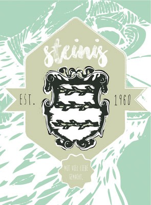 "label-logodesign for ""steinis schnaps"" made with love in styria * visob 2016"