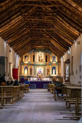 Die Kirche in San Pedro den Atacama von innen