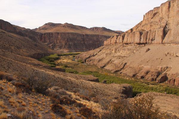 Blick von den Höhlen Cuevas de los Manos ins Tal