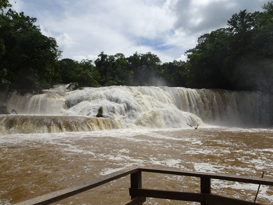 """Eigentlich heißen die Kaskaden """"Aguas Azules"""", wegen der Regenfälle sind es heute eher """"Aguas marrones"""""""