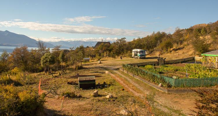 Als einziger Gast auf dem von Christian betriebenen Öko-Campingplatz am Lago Buenos Aires
