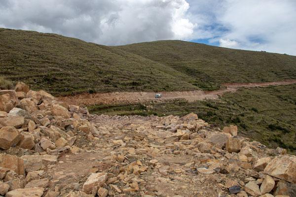 Hier war dann für uns Schluss - die Steine wurden immer größer...